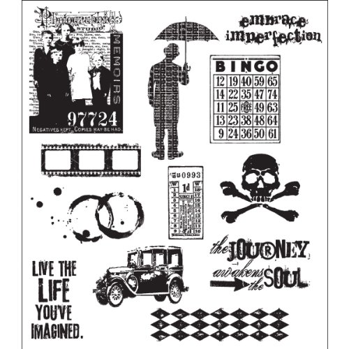 Stampers Anonymous Tim Holtz Large Cling Rubber Stamp Set Mini Muse