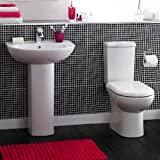 Knedlington Bathroom WC Toilet, Cistern, Basin Sink and pedestal 4 Piece Pottery Suite Set