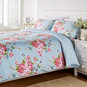 Humming bird connie floral blue pink cotton double duvet - Blue and pink floral bedding ...