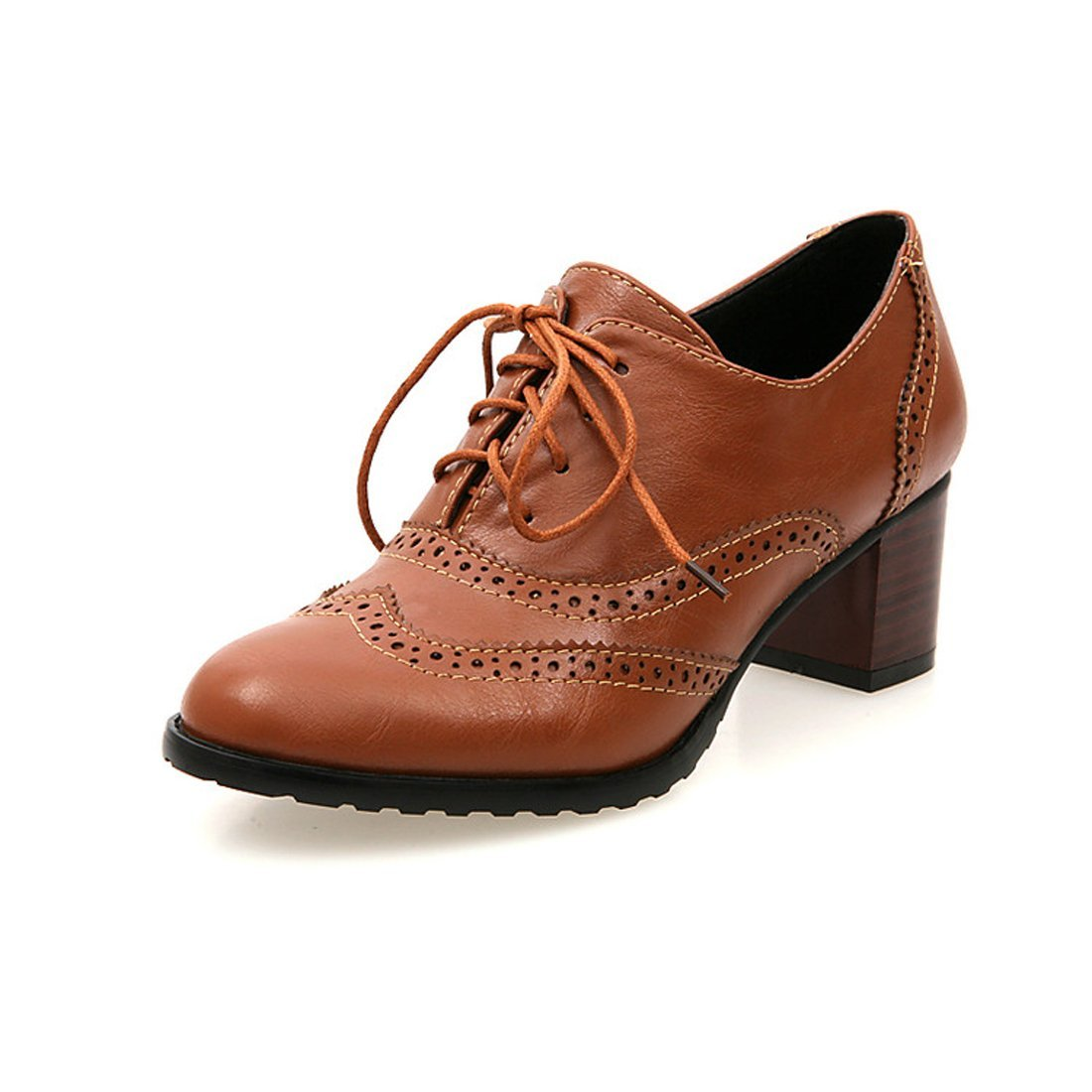 England Brogue Shoe Womens Lace-up Mid Heel Wingtip Oxfords Vintage PU Leather Shoes 3