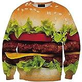 Women Fast Food Version Big Burger Printed Pattern Two Long Sleeve Sweatshirt