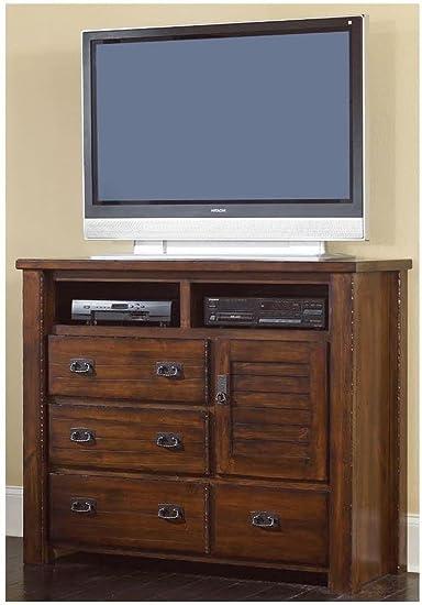 Progressive Furniture Trestlewood 4 Drawer Media Chest - Mesquite Pine