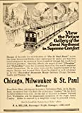 1916 Vintage Train Ad Chicago Milwaukee St Paul Railway – Original Print Ad