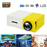 Mini Projector, Portable LED Projector, Smartphone Pocket Projector with AV USB SD HDMI for Video/Movie/Game/Home Theater Video Projector (Yellow)