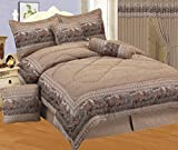 7 - Piece Neutral Brown Tapestry Style Wild Horse western Bed In A Bag Queen Size Bedding - Lodge, Cabin, Home, RV, Children's Room, Master Bedroom, Guest Room