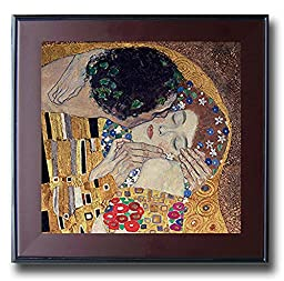 The Kiss (Detail) by Gustave Klimt Premium Mahogany Framed Canvas (Ready-to-Hang)