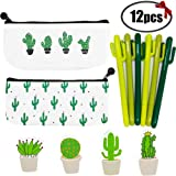 Sgift Cactus School Supplies Gift Set for Kids-Pen Bags with Zipper Cactus Stationery Pouch Bags+Cactus Pens Set+Cactus Sticky Notes, Pen Gift Set Kids Birthday,Christmas Cactus Gifts Ideas (Color: Green Cactus Gift Set, Tamaño: Gift Set)
