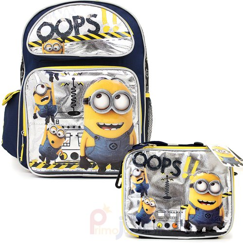 Despicable-Me-2-Minions-16-Large-School-Backpack-Lunch-Bag-Set-Oops