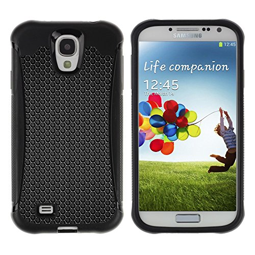 iArmor HYBRID Hülle Bumper Schutzhülle / Black hex pattern / Samsung Galaxy S4 I9500