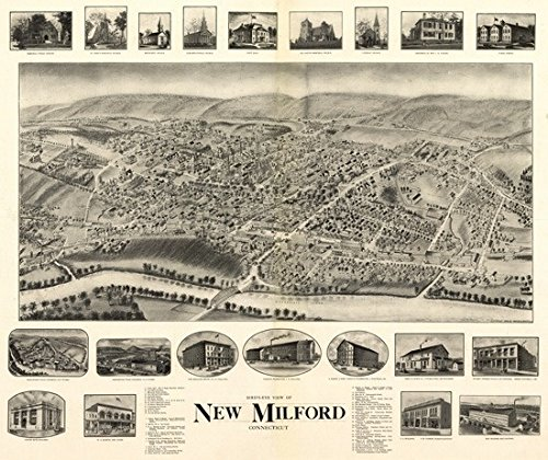 Panoramic Map of New Milford, Connecticut