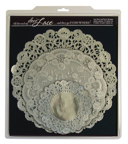 EuroQuest Imports Deco Lace Round Assorted Doilies, Set of 24, Silver