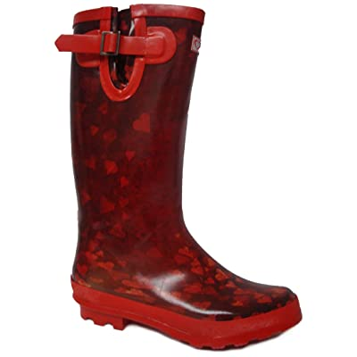 Ladies High Leg Buckle Trim Heeled Rubber Heart Print Wellingtons. - Red - UK 3-8