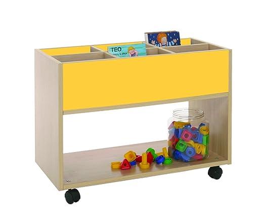 Mobeduc 600904HR17 Carrello-Libreria alta, in legno, colore: faggio/bianco, 80 x 40 x 58 cm