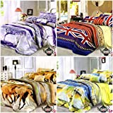 BLENZZA DECO 3D POLYCOTTON 4 DOUBLE BED BEDSHEET WITH 8 PILLOW COVERS