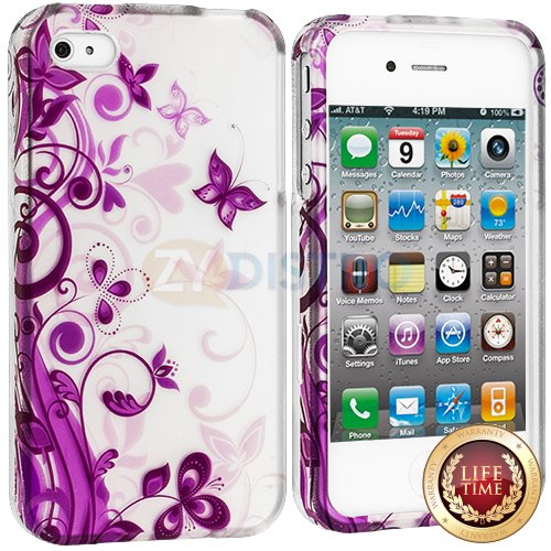 "myLife (TM) Purple Vines and Butterflies Series (2 Piece Snap On) Hardshell Plates Case for the iPhone 4/4S (4G) 4th Generation Touch Phone (Clip Fitted Front and Back Solid Cover Case + Rubberized Tough Armor Skin + Lifetime Warranty + Sealed Inside myLife Authorized Packaging) ""ADDITIONAL DETAILS: This two piece clip together case has a gloss surface and smooth texture that maximizes the st at Amazon.com"