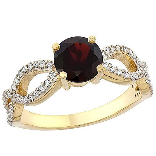 14ct Yellow Gold Natural Garnet Ring Round 6mm Infinity Diamond Accents, sizes J - T