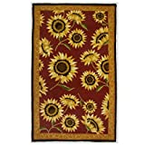 Homefires Provence Sunflowers 5-Feet by 7-Feet Indoor Hand Hooked Area Rug