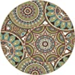 Universal Rugs Transitional Geometric 5 ft. 3 in. Round Area Rug , Multi