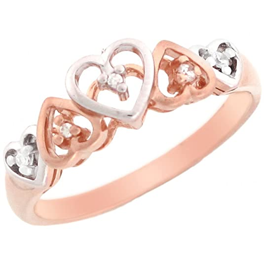 14ct Rose Gold Patterned Hearts Design Diamond Promise Ring