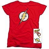Women's Flash Lightning Bolt Logo T Shirt (Large) (Color: Red, Tamaño: Large)