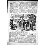 Impresión Antigua del Atleta de Graham de la Casa de Beaufort de 1866 del Salto De Altura De Londres Deportes...