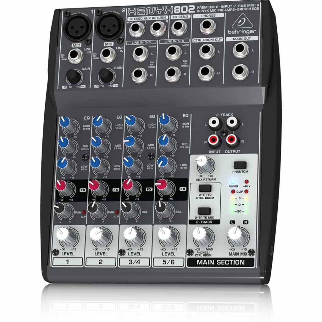 behringer xenyx 802 premium 8 input 2 bus mixer with xenyx mic preamps and british. Black Bedroom Furniture Sets. Home Design Ideas