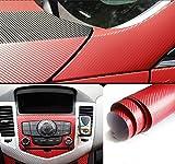 Mercury 伸縮性 高品質 152cm×30cm 3Dリアル カーボン調 カーボンシート ステッカー (カーボンレッド)