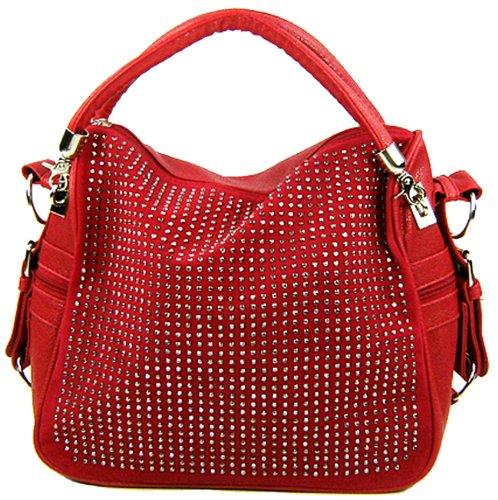 BENOITE Red Rhinestones Embellished Soft Leatherette