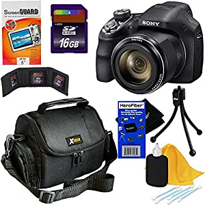 Sony Cyber-shot DSC-H400 20.1MP CCD sensor Digital Camera with 63x Optical SteadyShot image stabilization Zoom & 720p HD Video + 7pc Bundle 16GB Accessory Kit w/ HeroFiber® Ultra Gentle Cleaning Cloth
