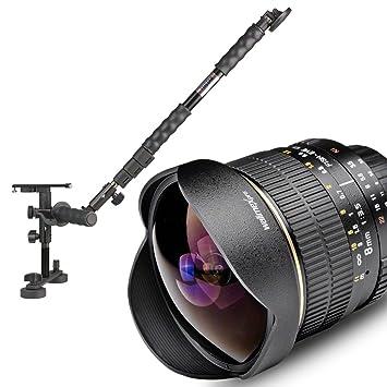 Walimex Set vidéo avec objectif 8/3,5 Fish-Eye pour Canon avec steadicam, étui pour objectif, sac de transport, contrepoids pour steadicam