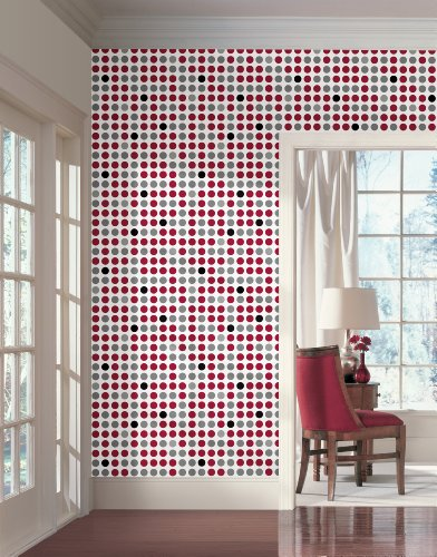Wall In A Box WIB1012 Retro Dots Wallpaper, Silver Metallic, Scarlet Red, Gloss Black, Steel Gray