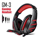 Beexcellent GM-3 Gaming Headset for PS4 PC Gaming Headset, Stereo Gaming Headphones Noise Isolation / LED Light / Bass Surround Over-ear / Mic USB & 3.5mm Wired (red) (Color: Red)