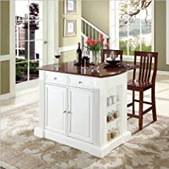 Crosley Furniture Drop Leaf Breakfast Bar Top Kitchen Island in White Finish with 24-Inch Cherry School House Stools