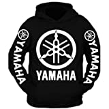 Special Edition White Yamaha Racing Hooded Sweatshirt Black (XL) (Color: Black, Tamaño: X-Large)