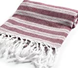 "Cacala Light Pestemal Turkish Bath Towels 37""x70"" for Bath Hamam Unisex ""Burgundy"""