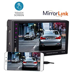 WEPECULIOR Car Radio Touch Mirror Link Screen Bluetooth MP4 Player FM/TF/USB Handsfree 9 Languages 2 DIN 7Inch Car Stereo MP5 Radio Player for Android (Color: without camera)