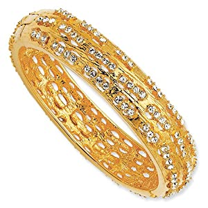Gold-plated Swarovski Crystal Dashes 7In Bangle