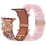 V-Moro Compatible iWatch Band 38mm 40mm Women, Soft Genuine Leather Strap with Tea Rose + Resin Bracelet Wristband for Apple iWatch Series 4 Series 3, Series 2, Series 1 (Pink+Beige, 38mm) (Color: Pink+Beige, Tamaño: 38mm/40mm)