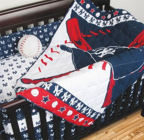 Mlb New York Yankees Crib Bedding - 4Pc Baseball Baby Quilt Bed-In-Bag