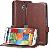 Vena® Motorola Moto X (2nd Gen, 2014) Case [vFolio] Vintage PU Flip Leather Wallet Stand Case Cover [Card Pockets] for Motorola Moto X (2nd Gen, 2014) (Brown/Black)