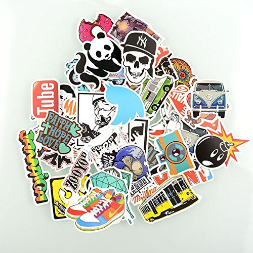 Factory direct sale pack of 50 stickers skateboard snowboard vintage vinyl sticker graffiti laptop luggage car bike bicycle decals mix lot fashion cool