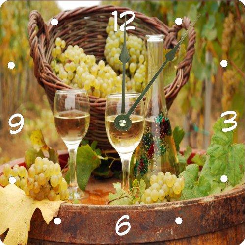 Rikki KnightTM White Wine glasses with grapes Design 10 Art Wall Clock