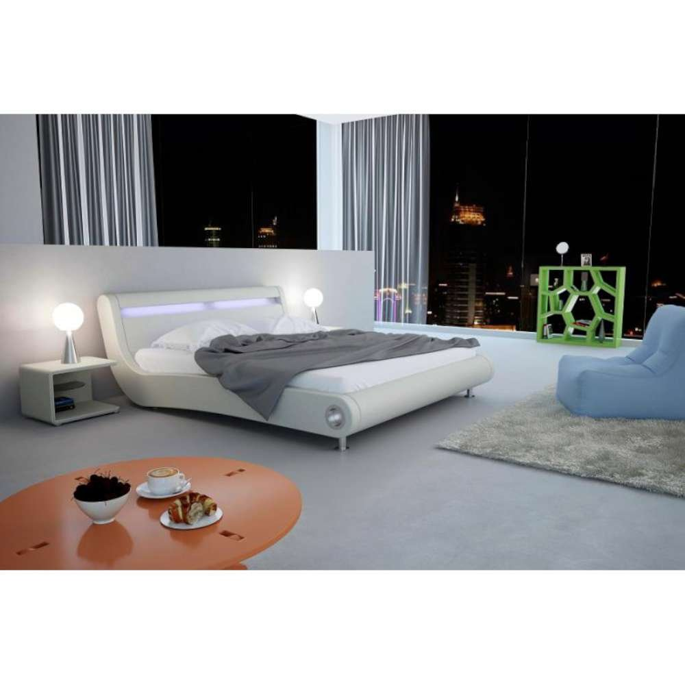 JUSThome Caprice LED Beige Polsterbett Ekoleder Größe 140×200 cm günstig bestellen
