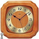 AMS-Funk-Wanduhr-Kirschbaum-massiv-lackiert-Mineralglas-ca-26-x-26-x-5-cm