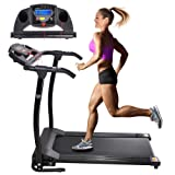 AW 1100W Folding Electric Treadmill Portable Power Motorized Machine Running Jogging Gym Exercise Fitness Black (Color: Black)