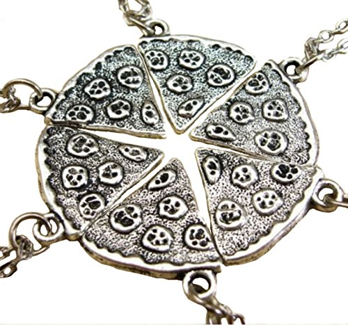 Tomily Charms Antique Silver Color Pizza Slice Pandent Friendship Necklace Set of 6
