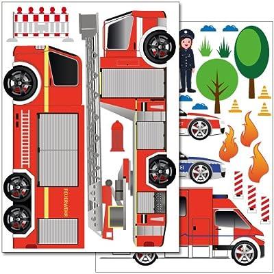 Wandkings Einsatzfahrzeuge Wandsticker Set, 29 Aufkleber, 2 DIN A4 Bögen, Gesamtfläche 60 x 20 cm