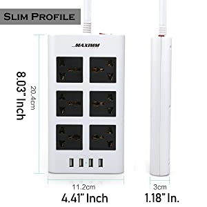 Maximm Surge Protector Flat Power Strip 6 Universal Outlets with 4 USB Ports, Desktop Charging Station, 4000W/10-16A Multiplug (6.5ft, White) w/India (Type D) Plug (Tamaño: w/ Indian Plug)