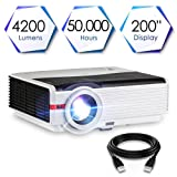 Projector 1080p Full HD 4200 Lumens with 200