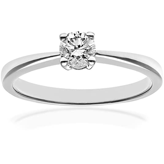 Naava Round Brilliant Diamond Platinum Engagement Ring, IJ/I Certified